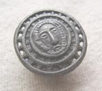 Pewter effect metal button