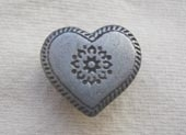 Pewter effect heart metal button
