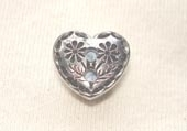 Heart shaped metallic button