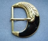 Gilt metal and resin buckle