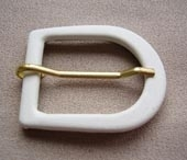 White faux leather buckle
